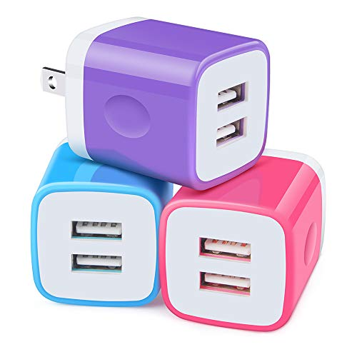 Charger Box, Charging Plug, 3Pack 2.1A Dual Port Wall Charger Block Fast Phone Charge Compatible with iPhone 11 Pro Max/XS Max/XR/X/8/7/6 Plus, Samsung Galaxy S20 Ultra S20 S10 S9 Plus A10e Note 10+