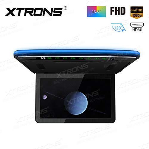 XTRONS 1920x1080 13.3 inch Resolution FHD Screen Car Roof Monitor Flip Down Overhead Multimedia Car Ceiling Over Head Video Display with USB SD HDMI Port Transmitter