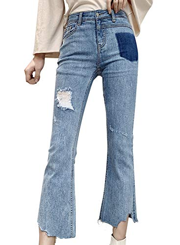 LISUEYNE dames Casual High Rise Slim Fit Stretch Jeans Ripped