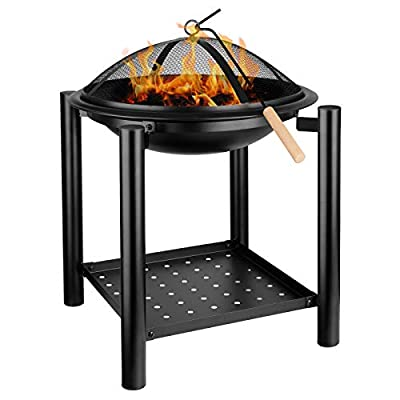 Femor BBQ Fire Pit with Grill, Metal Heater Fire Brazier, 4-Leg Fire Basket with Metal Frame/BBQ&Charcoal Grill/Mesh Lid/Grill Handles/Poker/Logs Shelf for Garden, Camping & Patio[?54.5cm x70cm] from Femor