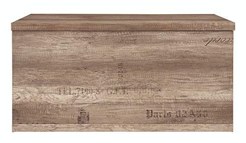 BOARDD - Cofre de madera otomana con tapa abatible, color gris mexicano, 93 x 45,5 x 49 cm
