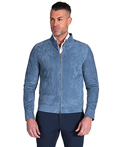 D'Arienzo Chaqueta de ante vaquero para hombre, italiano, de ante y piel de cordero, fabricada en Italia Marlon azul XL