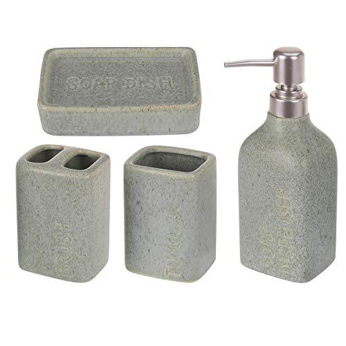 your castle Juego de 4 piezas de baño de cerámica con aspecto de cemento, dispensador de jabón líquido, jabonera, soporte para cepillos de dientes, vaso para cepillos de dientes, color verde