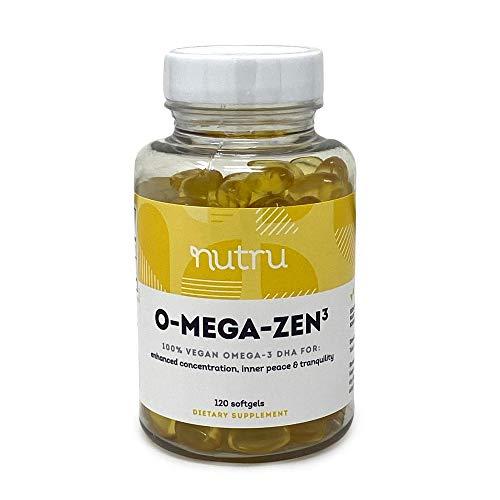 NuTru O-Mega-Zen3 Vegan Omega 3 DHA Supplement - Algal Omega3 Essential Fatty Acids - 400 mg DHA - for Brain, Joint & Heart Health - 120 Vegan Softgels