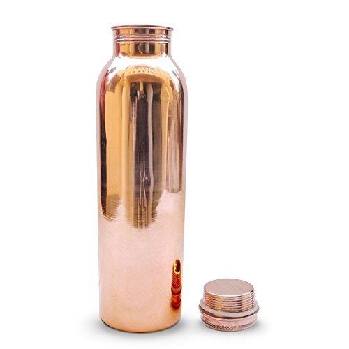 OSNICA 100% reine Kupferwasserflasche Ayurvedische Wasserkupferflasche - Auslaufsichere Wasserflaschen-Verschlusskappe, fugenfreie Kupferflasche 32 Unzen 900 ml (Ind-5)