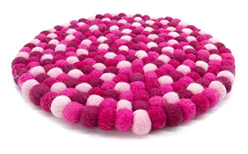 feelz Filzuntersetzer rund 22cm rosa Beere pink Handarbeit Topfuntersetzer bunt Bunte Filzkugel Untersetzer aus Filz