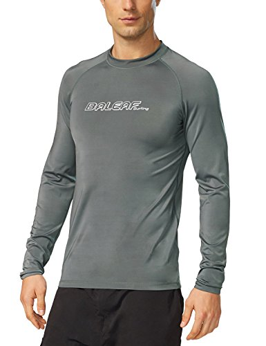 BALEAF Men's Long Sleeve Rashguard Sun Protective Swim Shirt UPF 50+ New Grey Size L