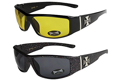 Choppers - Pack de 2 gafas de sol unisex hombre mujer moto - 1x Modelo 12 (negro brillante / amarillo tintado) y 1x Modelo 08 (negro mate con lunares (de colores) / negro tintado) - Modelo 12 + 08 -