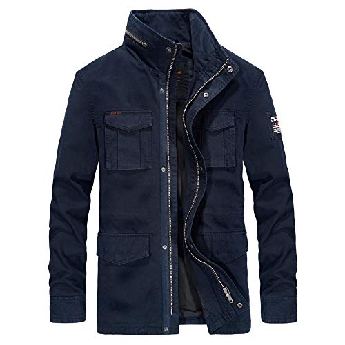 Mens Padded Hood Jacket Fleece Lined Winter Coat Men's mid-length cotton jacket-dark blue _XL