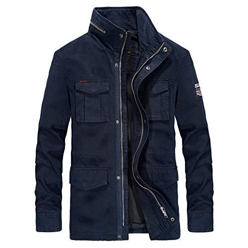 Mens Padded Hood Jacket Fleece Lined Winter Coat Men's mid-length cotton jacket-dark blue_L