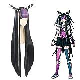 Modelo de Peluca, Peluca Larga y Recta, Peluca con Dos Cuernos, Disfraces de Halloween, con intranet Gratuita, Adecuada para Mujeres,Black-100cm