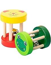 TOYANDONA 2 st baby skallra klocka trä baby hand bjällerklockor leksaker Montessori skallra rullande leksak musikalisk pedagogisk leksak för spädbarn småbarn födelsedagspresent slumpmässig stil