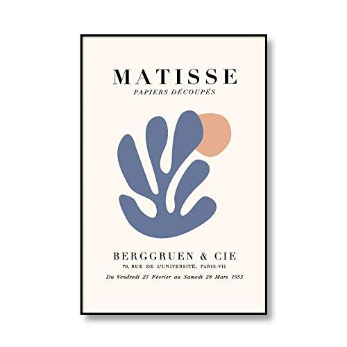 Póster de exposición de Henry Matisse, arte de pared, pintura abstracta del cuerpo humano, lienzo, impresión de hojas, lienzo sin marco, pintura A4 60x90cm