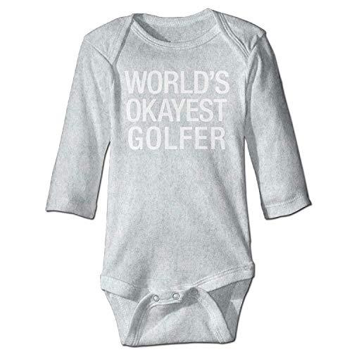 Unisex Infant Bodysuits World's Okayest Golfer Boys Babysuit Long Sleeve Jumpsuit Sunsuit Outfit Ash
