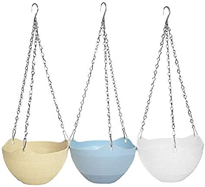 PlantaZee 3Pcs Colorful Round Plastic Hanging Planter Flower Pot with Metal Chain for Home and Garden Indoor/Outdoor Plant