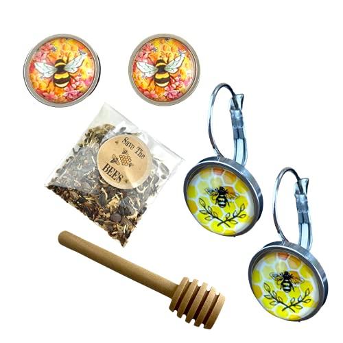 Save the bee's - Juego de pendientes de acero inoxidable con cuchara y semillas