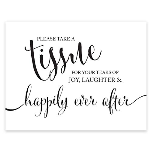 Andaz Press Wedding Party Signs, Formal Black and White, 8.5-inch x 11-inch, Please Take A Tissue for your Tears of Joy, Laughter and Happily Ever After, 1-Pack, Kleenex Ceremony Sign