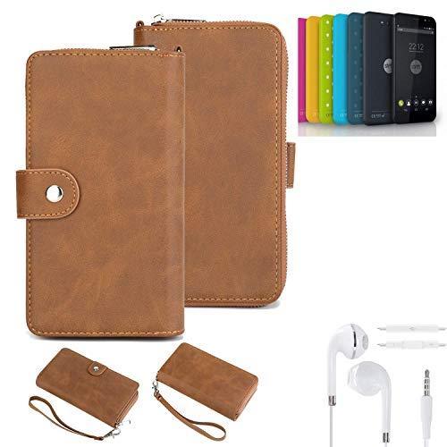 K-S-Trade® Handy-Schutz-Hülle Für Shift Shift4.2 + Kopfhörer Portemonnee Tasche Wallet-Case Bookstyle-Etui Braun (1x)