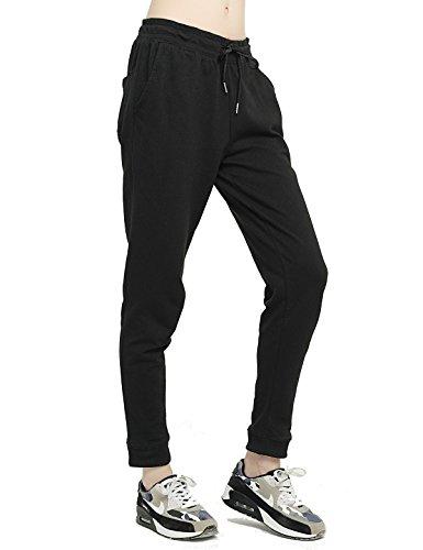 T-INSIDE Pantalon de Jogging Femme Coton avec Cordon de Serrage Grande Taille Haute en Maille Yoga Gym,Noir,S