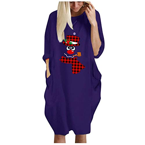 Janly Clearance Sale Vestido de manga larga para mujer, bolsillo grande, vestido suelto para mujer, cuello redondo, casual, vestido largo para invierno, Navidad (púrpura/L)