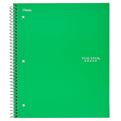 Five Star College Ruled 3 - subject Notebook - Letter, 03 Green