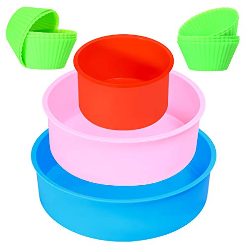 3 Pack Silicone Baking Mold, Round Cake Pans, Silicone Cake Molds for Baking Layer Cake, Cheese Cake, Chiffon Cake-4inch, 6inch, 8inch, with 10pack Small Cupcake Pan (Red Blue Pink)