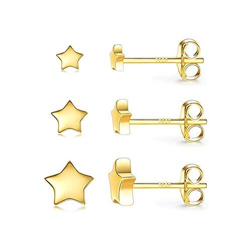 GESSIE QA01 3 unids/Set Zircon Pendiente 925 Plata esterlina Linda Estrella Estrella Mini Perno Pendiente Oreja Oreja Oreja Piercing Hebilla orecchini joyery CH0401 (Gem Color : Gold Color 2)