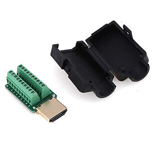 SPRINGHUA Nuevo 1pc HDMI Male 19p Plug Breakout Terminales Conector sin Soldadura con Cubierta al por Mayor