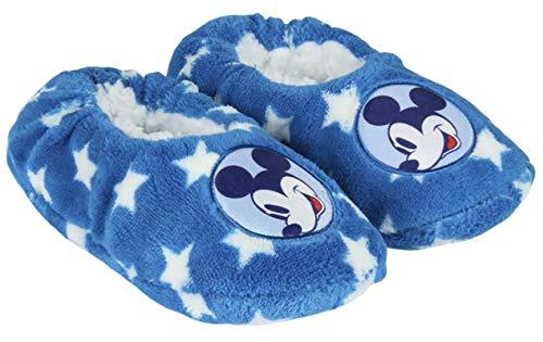 Hausschuhe aus weichem Fleece, für Kinder, Jungen, Mickey, Blau / Weiß, Einheitsgröße (26-31)
