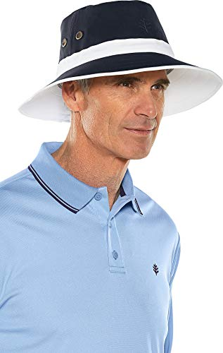 Coolibar UPF 50+ Men's Women's Matchplay Golf Hat - Sun Protective (Large/X-Large- White/Carbon)