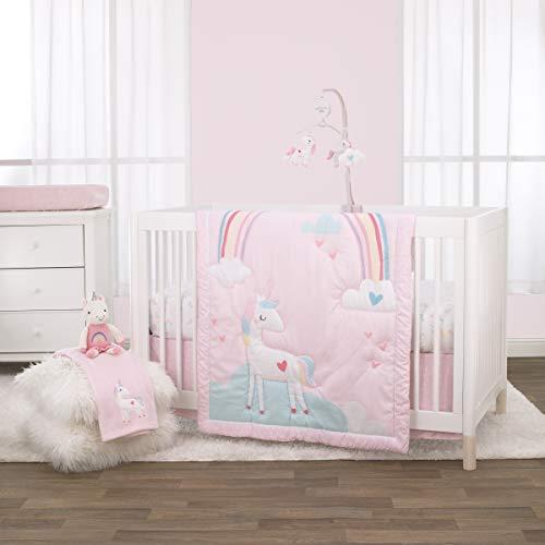 NoJo 3 Piece Crib Bedding Set and Dust Ruffle, Rainbow Unicorn, Pink/Aqua/Yellow/White