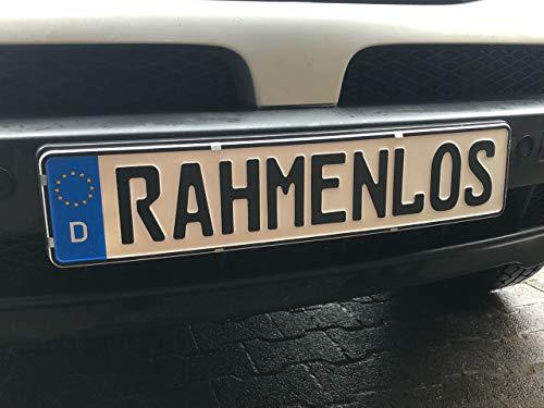 Rahmenlos Premium Nummernschildhalter Kennzeichenhalter Rahmenlose 520mm x 110 mm aus Edelstahl Rostfrei Set 2x Stück