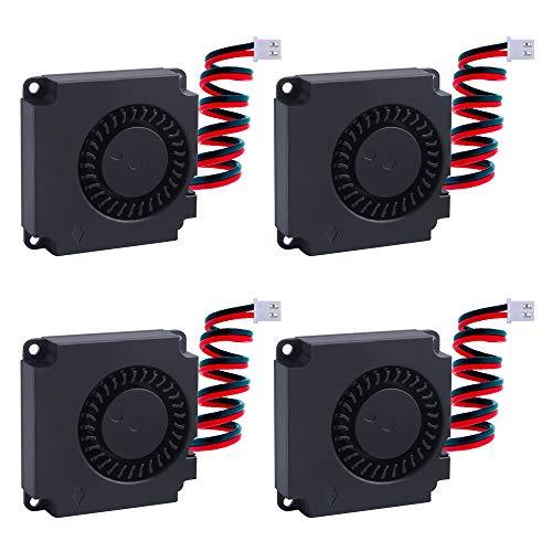 Owootecc Bürstenloser Gleichstrom-Ventilator, 12 V, 3D-Drucker-Gebläse, Mini-Ventilator für 3D-Drucker, Kühlkörper (40 x 40 x 10 mm), 4 Stück