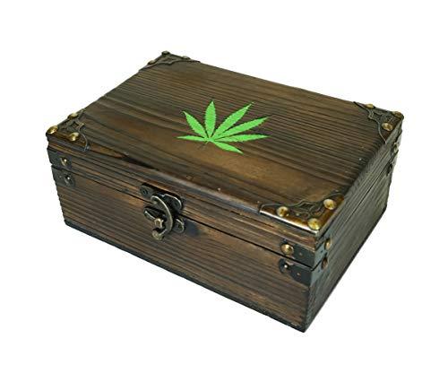 Carina's Collection Solid Stash Woodburned Weed stash Vintage Style Wooden Storage Keepsake Box