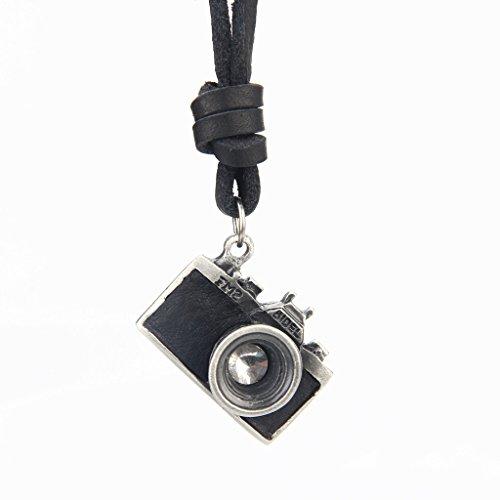 Homyl Colar Marrom Preto Da Câmera Da Foto 3D Pingente De Couro Genuíno - Preto