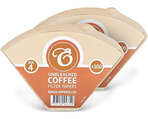 EDESIA ESPRESS - 200 filtri caffè americano in carta non sbiancata - forma a cono - misura 4