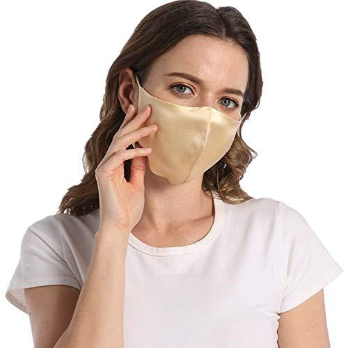 ROSEWARD 100% Silk Gold Face Mask for Women Adjustable Cooling with Filter Pocket-Gold
