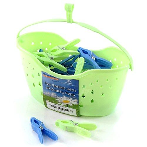 Hangerworld 36 Pinzas de Plástico y Cesto con Gancho para Colgar del Tendedero o Cuerda de Tender