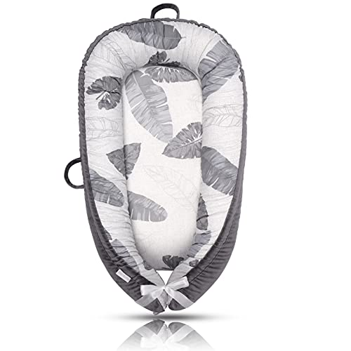 Mamibaby Baby Lounger Baby Nest Co-Sleeping for Baby, Ultra Soft & Breathable Fiberfill Portable Adjustable Newborn Lounger Crib Bassinet | Newborn Shower Gift Essential (Leaves Pattern)