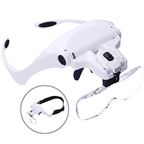 Soapow LED Head Magnifier Headband Magnifier Lighted Glass Optivisor with 5 Lens for Hobby Repair Reading