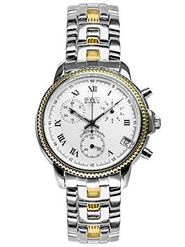 BWC-Swiss 210955213 - Reloj de pulsera para hombre (cronógrafo, cuarzo, con correa de acero inoxidable)