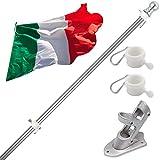 Kit Asta Bandiera di alluminio con Staffa Asta Bandiera in Acciaio Inossidabile, 180cm Set...