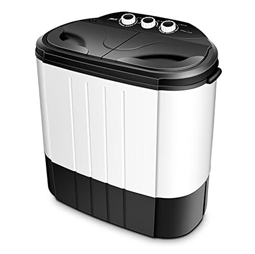 YXWxyj Lavadoras Mini Lavadora de Doble Tambor portátil 220V Camping Lavadora (4KG Lavado + 3KG Secado) for 1-2 Personas, lavandería Washer Spinner for Dorms Apartments (Color : Black/White)