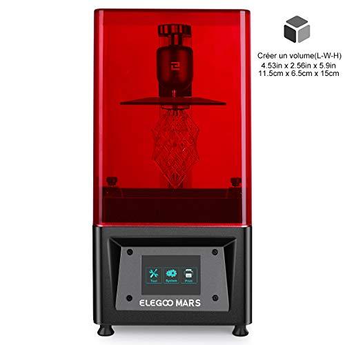 ELEGOO Imprimante 3D LCD UV à Photopolymérisation Mars avec écran Couleur Smart Touch de 3,5 '' Impression Hors Ligne 3D Printer Taille d'impression 11.56cm (L) x 6.5cm(W) x 15cm(H)-Noir