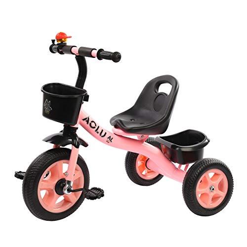 Triciclos Rojos/Rosados para Niñas, Trike para Niños De 2/3/4/5 / Años De Edad para Niños, Pedal De Bicicleta De 3 Ruedas Paseo En, Asiento Ajustable (Color : Rosado)