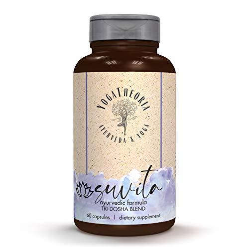 Suvita Ayurvedic 100% Herbal - Holy Basil, Turmeric, Ashwagandha, Garlic Bulb, and more. Tri-Dosha Ayurvedic Formula supports Balance of Mind & Body, Women's Support, and Overall Health and Well Being