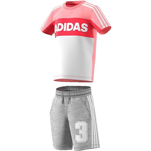 adidas LK G SS Tracksu Conjunto Deportivo, Unisex bebé, rosglo/Brgrin, 92 (1/2 años)