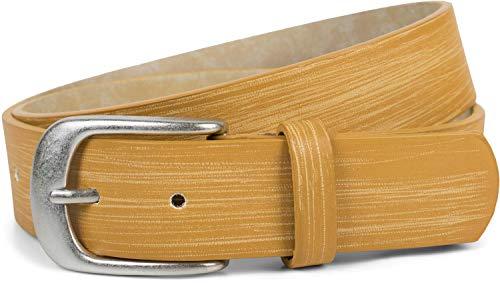 styleBREAKER Gürtel Unifarben mit Oberfläche in Pinselstrich Optik, Vintage Design, Used Look, kürzbar, Unisex 03010098, Farbe:Senf, Größe:85cm
