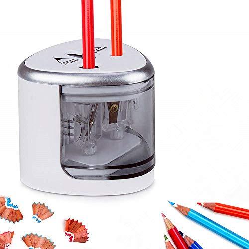 Sinzau Elektrischer Universal Anspitzer für Alle Bleistifte, Buntstifte, Eyeliner, Doppelspitzer für Stifte von 6-8 mm und 9-12 mm