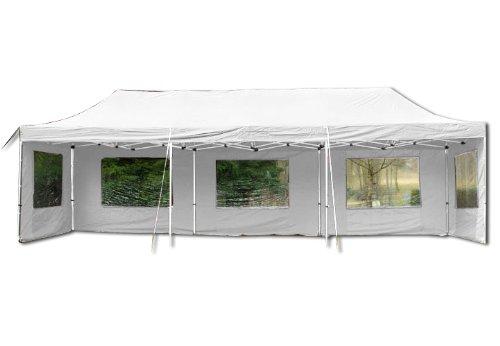 Nexos Profi Faltpavillon Partyzelt Pavillon 3x9 m mit Seitenteilen - hochwertige Ausführung - wasserdichtes Dach mit PVC-Coating - 270 g/m² incl. Tragetasche und Zubehör – Farbe: weiß